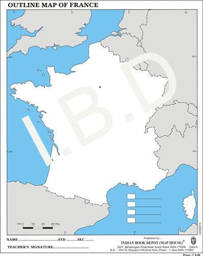 Big size | Practice Map of France |Pack of 100 Maps| Outline Maps - Indian Book Depot (Map House)