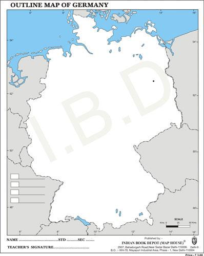 Big size | Practice Map of Germany |Pack of 100 Maps| Outline Maps - Indian Book Depot (Map House)