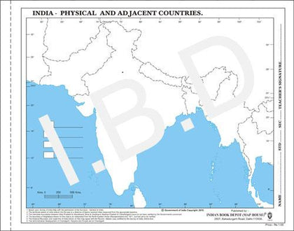 Big size | Practice Map of India Physical |Pack of 100 Maps| Outline Maps - Indian Book Depot (Map House)