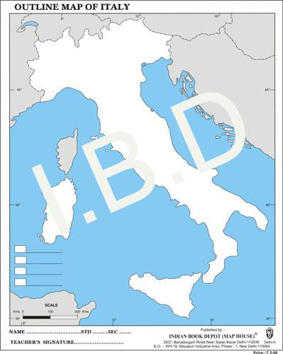 Big size | Practice Map of Italy |Pack of 100 Maps| Outline Maps - Indian Book Depot (Map House)