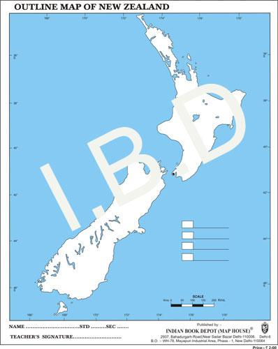 Big size | Practice Map of New Zealand |Pack of 100 Maps| Outline Maps - Indian Book Depot (Map House)