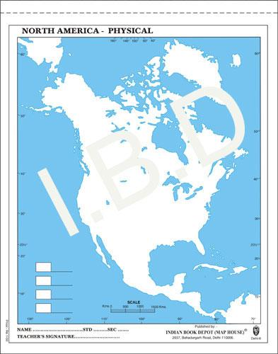 Big size | Practice Map of North America Physical |Pack of 100 Maps| Outline Maps - Indian Book Depot (Map House)
