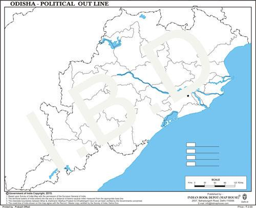 Big size | Practice Map of Odisha political |Pack of 100 Maps| Outline Maps - Indian Book Depot (Map House)