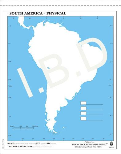 Big size | Practice Map of South America Physical |Pack of 100 Maps| Outline Maps - Indian Book Depot (Map House)