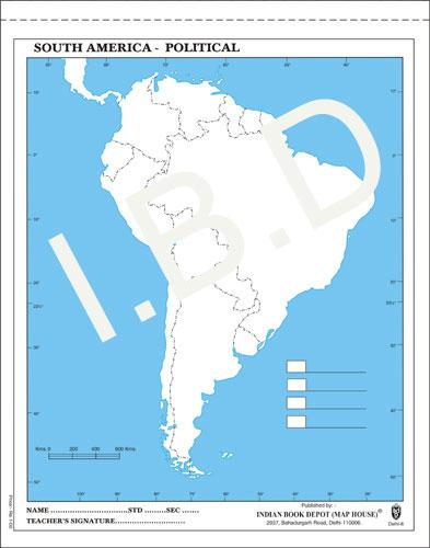 Big size | Practice Map of South America Political |Pack of 100 Maps| Outline Maps - Indian Book Depot (Map House)