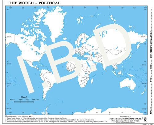 Big size | Practice Map of World Political |Pack of 100 Maps| Outline Maps - Indian Book Depot (Map House)
