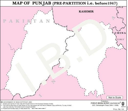 Practice Map of Punjab 1947 |Pack of 100 Maps | Small Size | Outline Maps - Indian Book Depot (Map House)