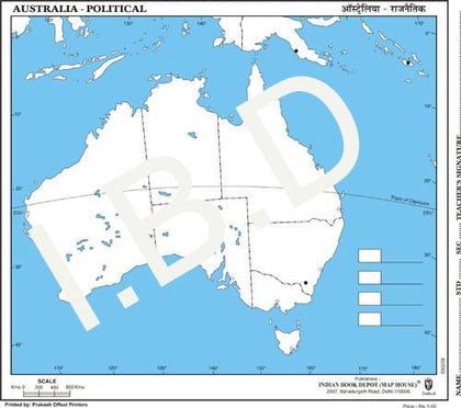 Practice Map of Australia Political |Pack of 100 Maps | Small Size | Outline Maps - Indian Book Depot (Map House)