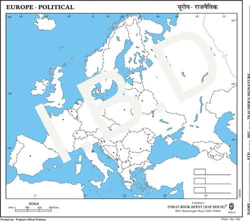 Practice Map of Europe Political |Pack of 100 Maps | Small Size | Outline Maps - Indian Book Depot (Map House)