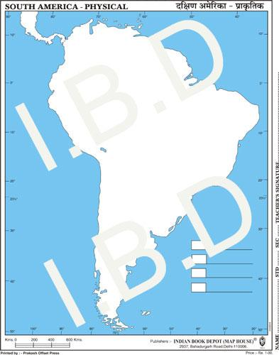 Practice Map of South America Physical |Pack of 100 Maps | Small Size | Outline Maps - Indian Book Depot (Map House)