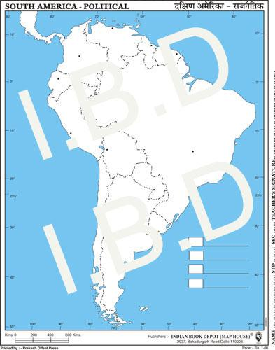 Practice Map of South America Political |Pack of 100 Maps | Small Size | Outline Maps - Indian Book Depot (Map House)