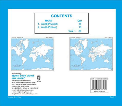 Book of Outline maps WORLD, 15 political maps|15 physical maps|small size