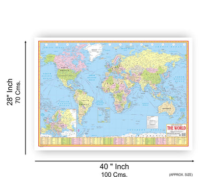 WORLD POLITICAL MAP (ENGLISH) SIZE 70 X 100 CMS