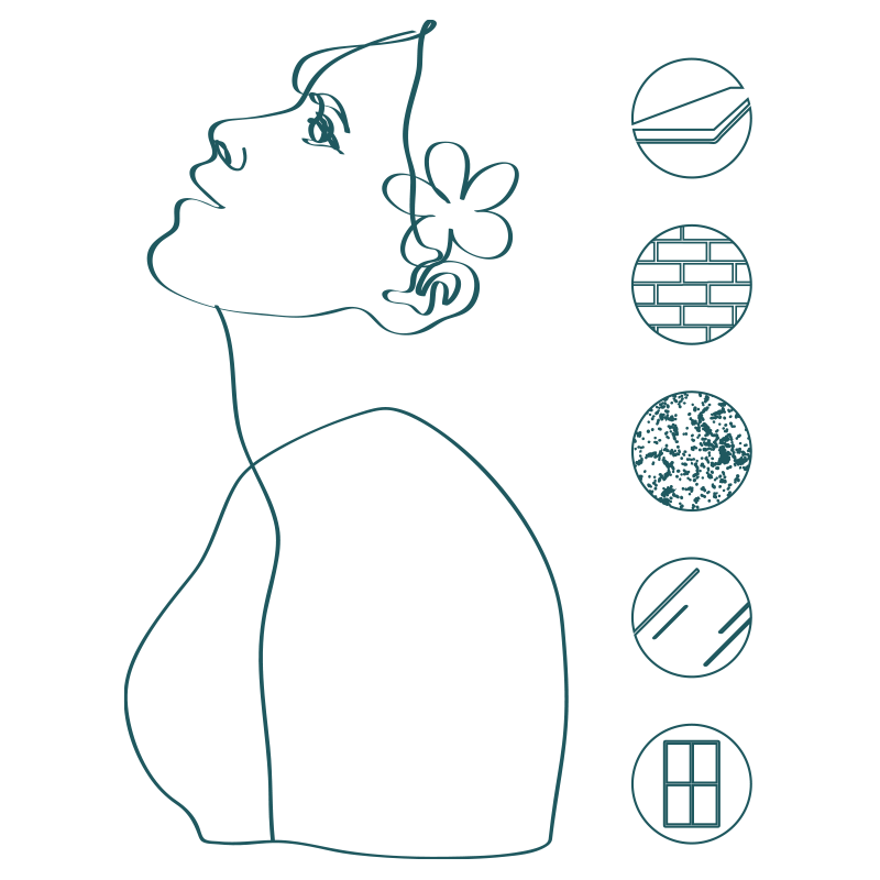 line illustration of woman's face from side with icons of safe use surfaces icons