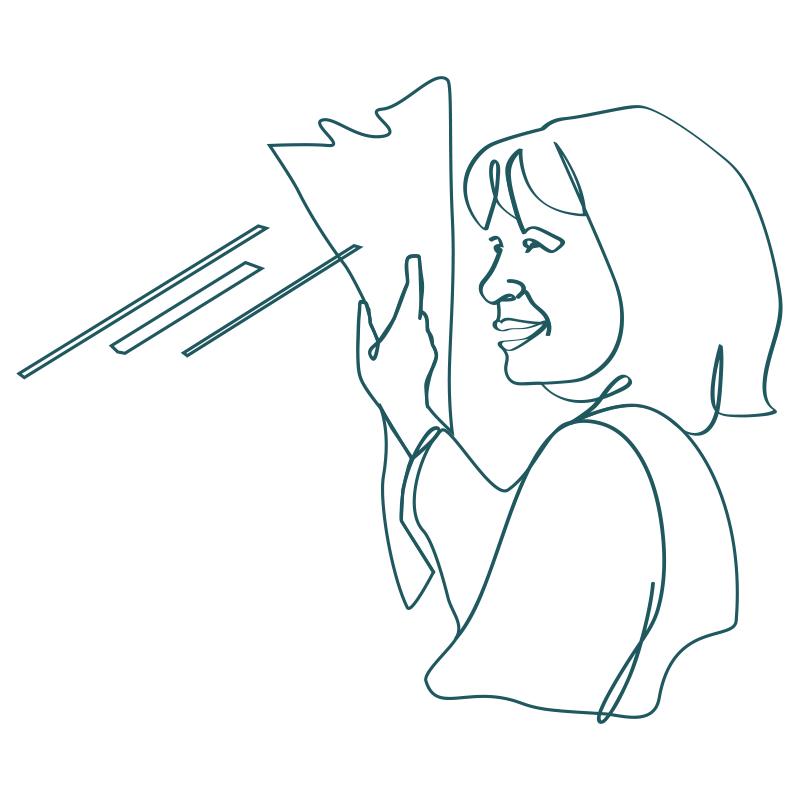line drawing of a woman wiping a window with a towel