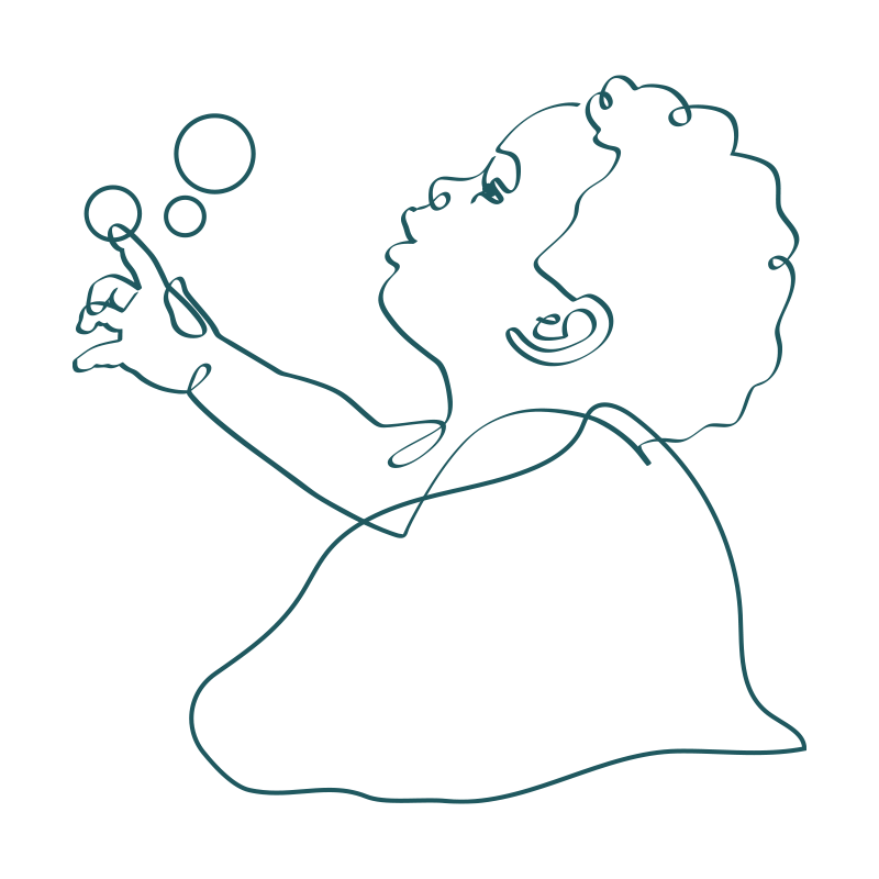 line drawing of an infant child with curly hair oogling while touching floating bubbles