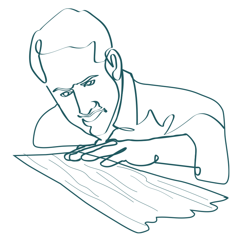 line drawing of a man closely examining a plank of wood with his hand