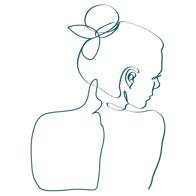 line drawing of a woman with her hair up and back turned in a delicate pose