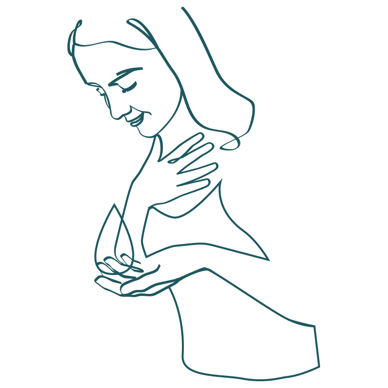 line drawing of woman holding water drop with her hand