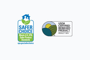 Safer Choice EPA badge and USDA Certified Biobased Product 100% badge