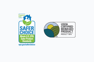 Safer Choice Fragrance Free EPA badge and USDA Certified Biobased Product 100% badge