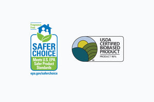 Safer Choice Fragrance Free EPA badge and USDA Certified Biobased Product 96% badge