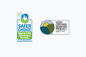Safer Choice Fragrance Free EPA badge and USDA Certified Biobased Product 97% badge