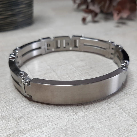 Graveerarmband plaat 12 mm - Stainless Steel - Monogram gravure