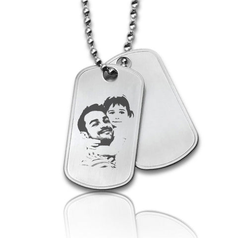 Dubbele Dogtag inclusief ketting - Stainless Steel - Fotogravure