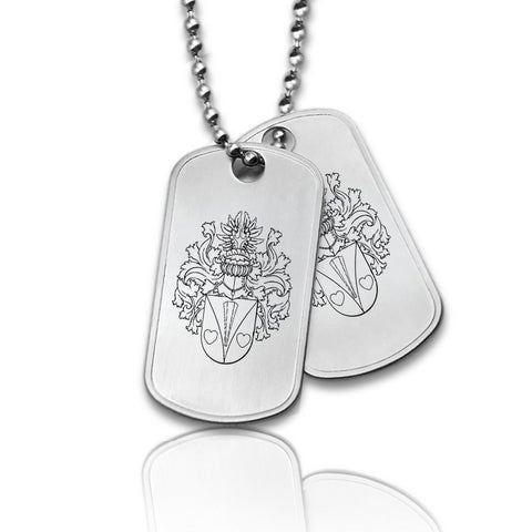 Dubbele Dogtag inclusief ketting - Stainless Steel - Familiewapen gravure