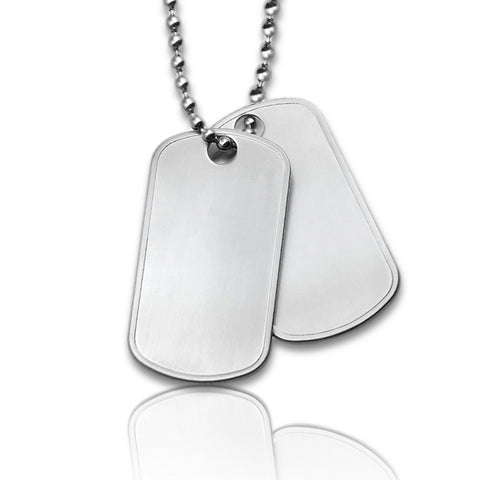 Dubbele Dogtag inclusief ketting - Stainless Steel  - Afbeelding of Logo gravure