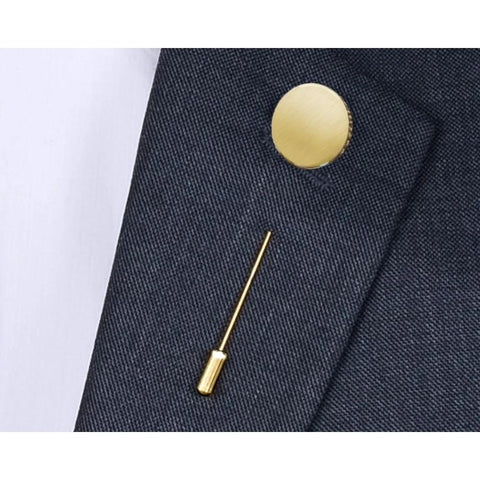 Lange Pin Mat of Glans - 14K Geelgoud - Monogram gravure