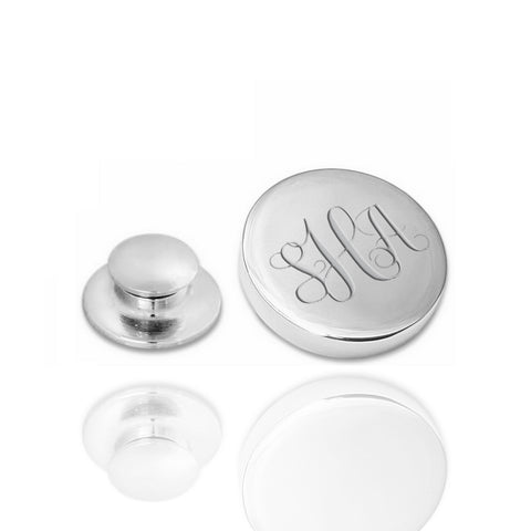 Revers Pin Glans Rond - Stainless Steel - Monogram gravure