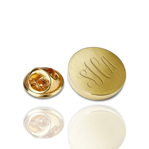 Revers Pin Mat of Glans - 14K Geelgoud - Monogram gravure