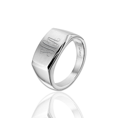 Zegelring dwarsmodel 11 mm breed - 925/1000 Zilver - Monogram