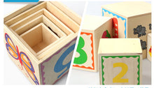 Load image into Gallery viewer, wooden stacker and shapes sorter details