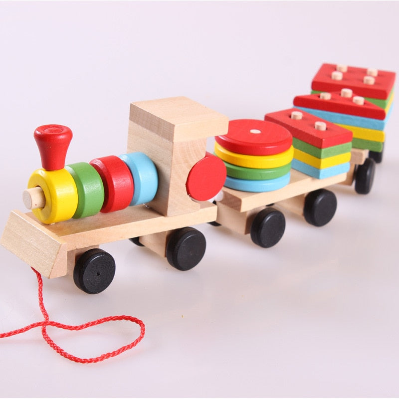stack and pull along train toy