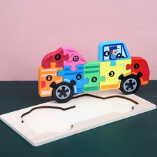Load image into Gallery viewer, Wooden Jigsaw Puzzle - Animals and Vehicles