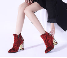Load image into Gallery viewer, Phoentin crystal flower studded ankle boots pearl metal fretwork super high heels beautiful zipper women boots red shoes FT270