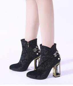 Phoentin crystal flower studded ankle boots pearl metal fretwork super high heels beautiful zipper women boots red shoes FT270