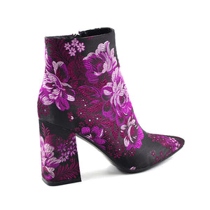 Embroider Boots 2019 New Female Spring Autumn Ankle Boots For Women High Heels Retro Women Shoes Autumn Women High Boots Flower