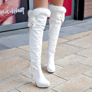 Tuyoki 2020 Simple Woman  Boots Winter Autumn Zipper Over Knee Boots Buckle Platform Sexy Daily Shoes Woman Size 34-43