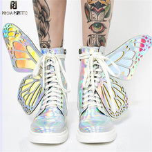 Load image into Gallery viewer, Prova Perfetto 2020 Butterfly Wings Women Sneakers Lace up Platform Ladies Shoes Shiny High Tops Flat Casual Rubber Botas Mujer