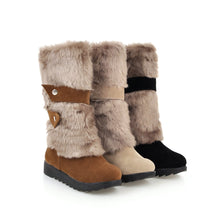 Load image into Gallery viewer, Gykaeo Hot Sell Women Warm Snow Boots 2020 Autumn and Winter Mother Leisure Flat Bottom Plus Size Cotton Shoes Woman Botas Mujer