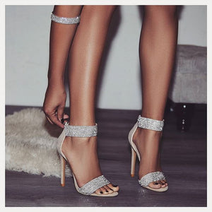Summer Women Fashion Dancing High Heels Wedding Shoes Sexy Pump Female Cover Heel Party T-stage Transparent Crystal Sandals