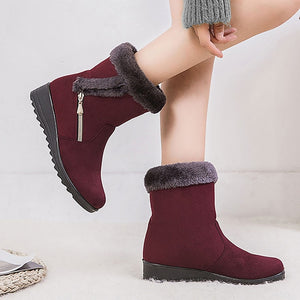 Winter boots women shoes 2020 solid flat plush warm snow boots women sneakers zipper winter ankle boots casual shoes woman