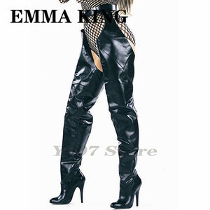 2020 New Leather Women Winter Boots T-Shaped Pointed-Toe Black Over The Knee Boots Rihanna's Belted Side Zipper High Heels Shoes