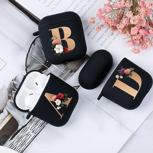 Cute Floral Gold Initial alphabet Letter AirPods Case For Airpod 2 Cases Silicone Wireless Bluetooth Earphone Cover Matte Black