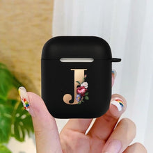 Load image into Gallery viewer, Cute Floral Gold Initial alphabet Letter AirPods Case For Airpod 2 Cases Silicone Wireless Bluetooth Earphone Cover Matte Black