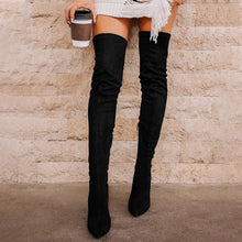 Load image into Gallery viewer, 2020 Ladies Shoes High Heels Women Over The Knee Boots Scrub Black Pointed Toe Woman Motorcycle Boots Winter Boots Women
